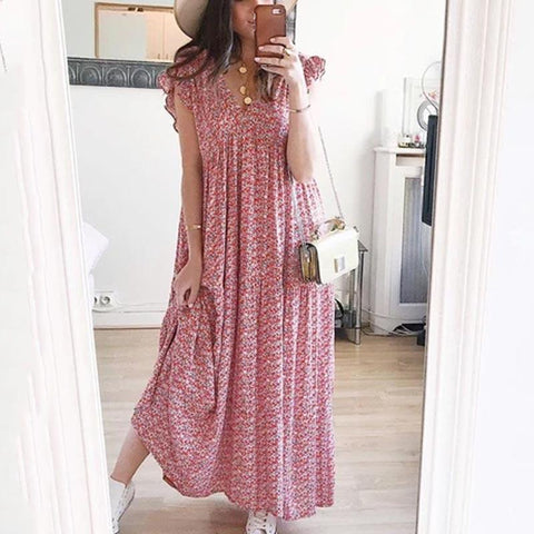 Sexy V-Neck Floral Ruffled Sleeves Loose Dress