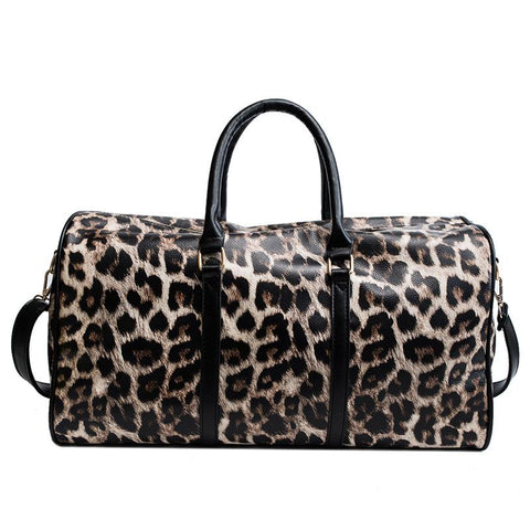 Fashion Leopard Cylinder Bag Large Capacity Crossbody Bag