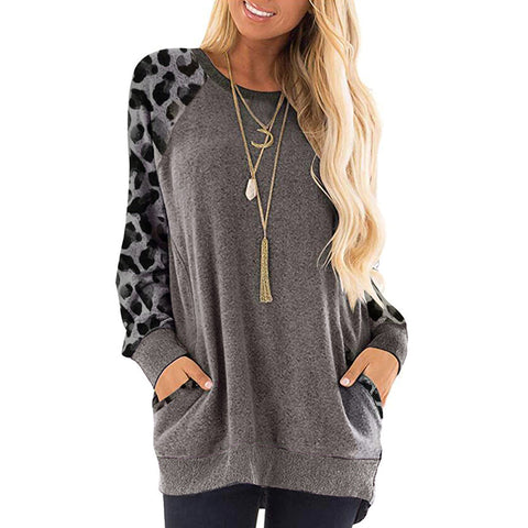 Leopard-Print Round Neck Long-Sleeved Sweater