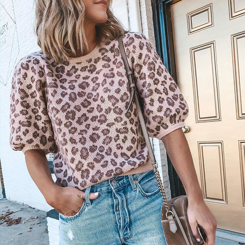 Fashion Leopard Puff Sleeve Sweater