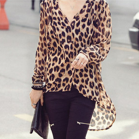 Fashion Mature Casual Loose Leopard Print Long Sleeve Blouse