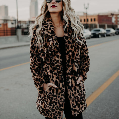 Fashion Leopard Print Collar Warm Coat