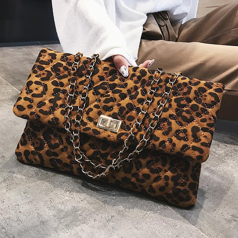 Fashion Casual Rectangle Leopard Print One Shoulder Bag