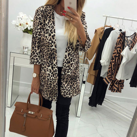 Sexy Leopard Suit Collar Slim Jacket