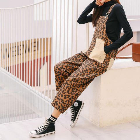 Leopard Printed  Sleeveless Jumpsuits