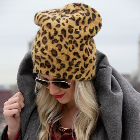 Fashion Casual  Leopard print warm  knitted beanies Hat