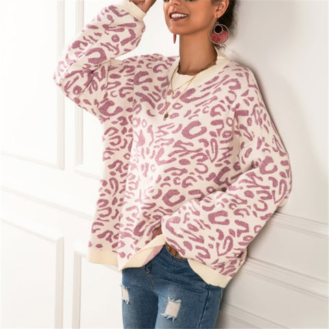 Casual Loose Long Sleeved Leopard Sweater