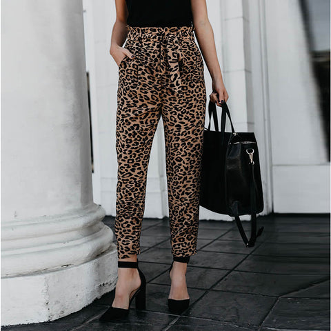 Casual Slim Show Thin   Leopard Print Straight Trousers Pencil Pants