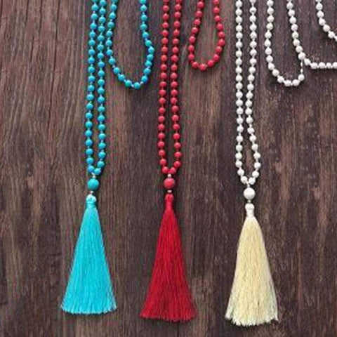 Enonocal Woman Solid Color Tassel Long Necklace