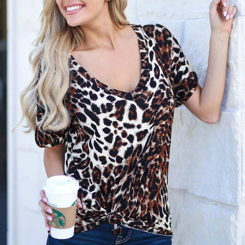Fashion V Collar Leopard Printed Loose Top