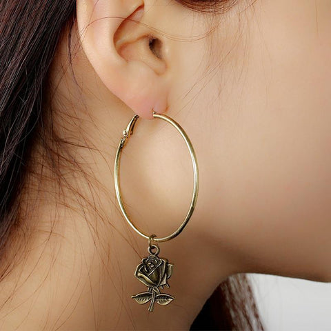 Retro Rose Loop Alloy Earrings