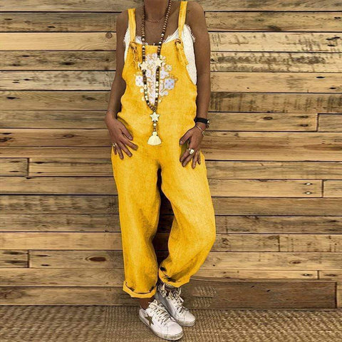 Casual Cotton And Linen Printed Strap Jumpsuit