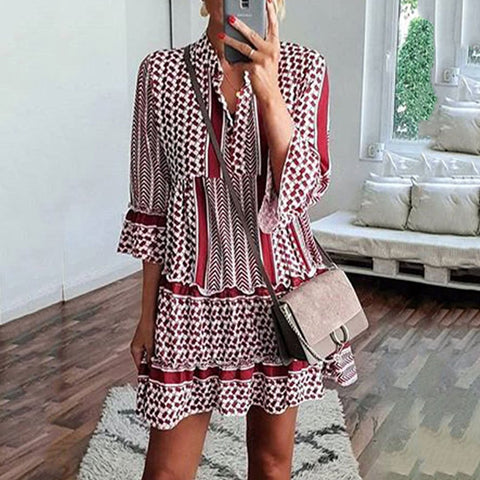 Bohemian Printed Leaf-Edge Dress