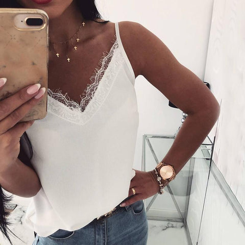 Sexy V Neck Lace Splicing Pure Colour Off-Shoulder Bare Back Tank Top