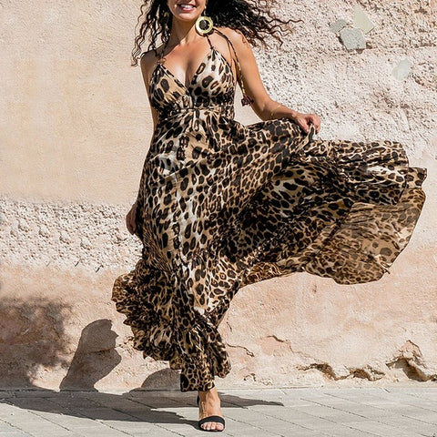 Sexy V Neck Leopard Print Vacation Maxi Dresses
