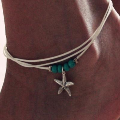Bohemian Style Personality Pendant Turquoise Starfish Beaded Chain Bracelet Anklet