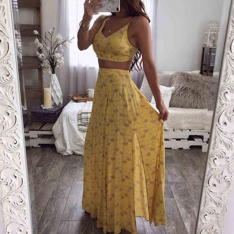 Boho V Neck Bare Back Off-Shoulder Floral Pattern Slit Suit