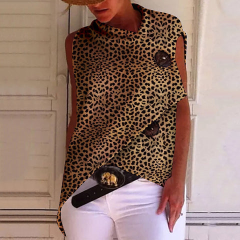 Fashion Irregular Leopard Print Sleeveless Button Top