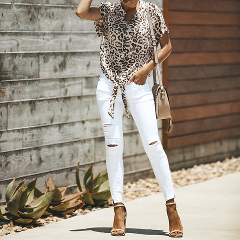 Casual Leopard Print Short Sleeve Belted Blouse