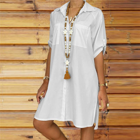 Fashion Short Sleeve Solid Color Shirt Casual Dresses