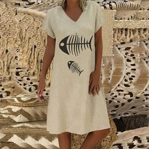 Fashion V Collar Short Sleeve Fishbone Printing Casual Dresses