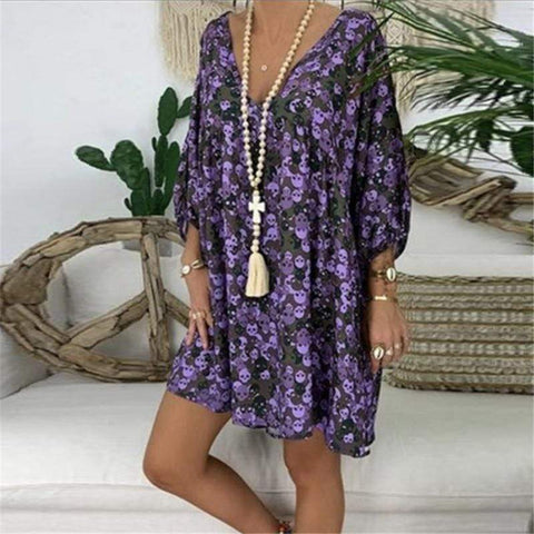 Fashion V Neck Printing Nine Sleeve Casual Dresses