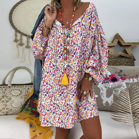 Fashion V Neck Long Sleeve Printing Casual Dresses