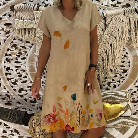 Fashion V Neck Print Short Sleeves Casual Dresses