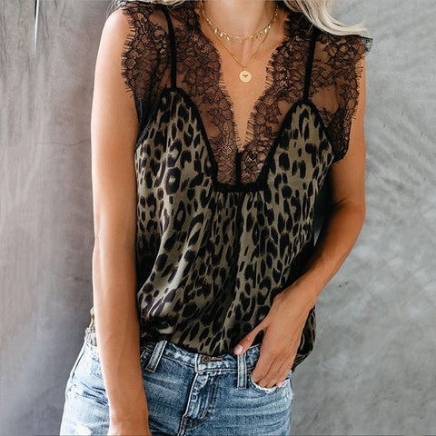 Women's Leopard Print Lace Panel Sleeveless Top