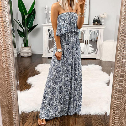 Sweet Boat Neck Off-Shoulder Ruffled Printed Colour Sleeveless Dress