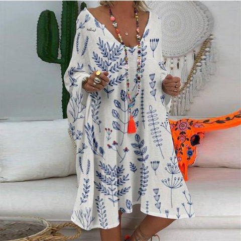 Women's V Neck Loose Printed Casual Dress