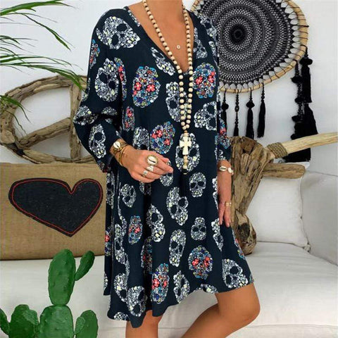 Women's V-Neck Print Casual Dress