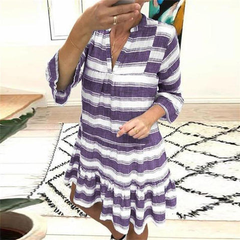 Women's V-Neck Striped Dress