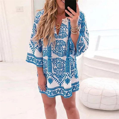 Bohemian V-Neck Three Quarter Sleeve Print Dress
