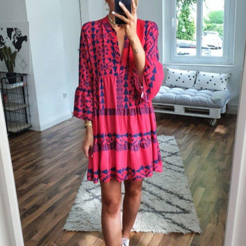 Fashion Print V-Neck Long Sleeve Dress