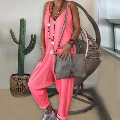 Casual Pure Color Sleeveless V Neck  Jumpsuit