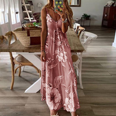 Fashion V Neck Sleeveless Printed Colour Ankle-Length Dress