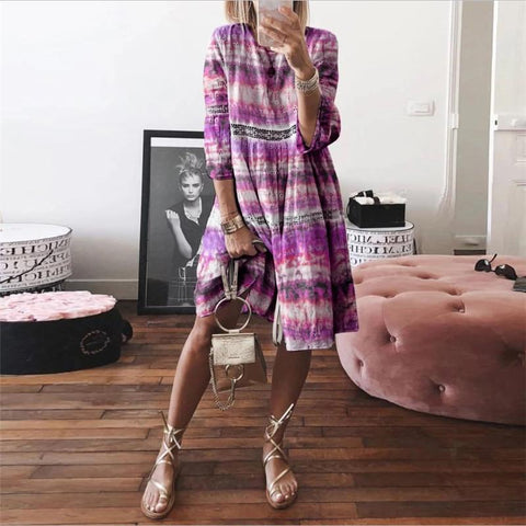 Tie-Dye Hollow Seven-Quarter Sleeve Dress
