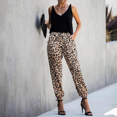 Casual Leopard Printed Elastic Waist Drawstring Pockets Pants
