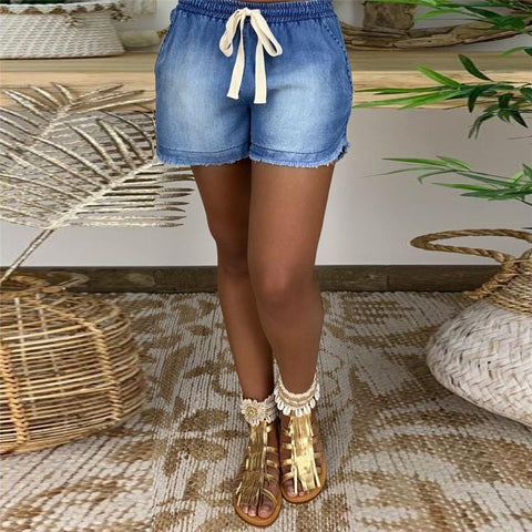 Casual Elastic Waist Lace-Up Denim Short Pant