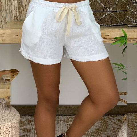 Casual Solid Color Drawstring Open Pocket Shorts