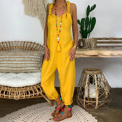 Casual Sleeveless Pure Colour Jumpsuit