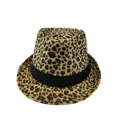 Leopard Jazz Hat Woolen Retro Hat