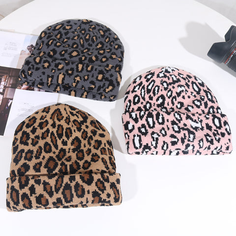 Leopard Wool Hat Warm Fashion Knit Hat