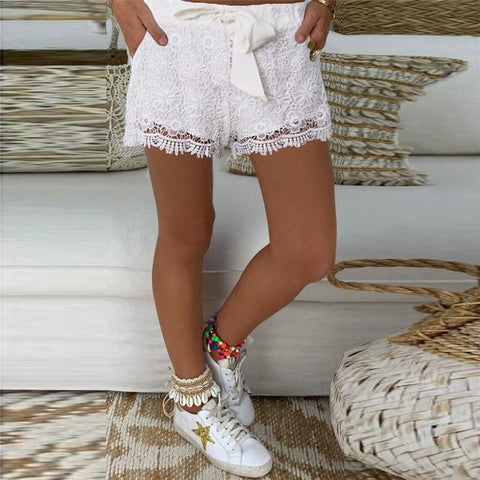 Casual Lace Hollow Elastic Waist Lace-Up Short Pants