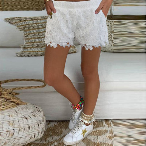 Casual Lace Elastic Waist Short Pants