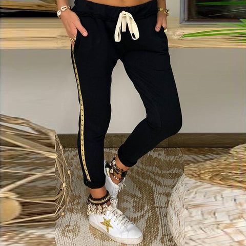 Casual Drawstring Drawstring Pocket Slim Pants
