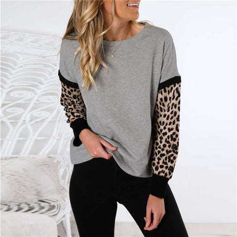 Solid Color Leopard Stitching Long Sleeve T-Shirt