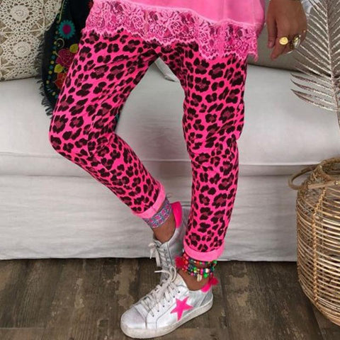 Casual Leopard Print Roll Up Slim Leg Pants