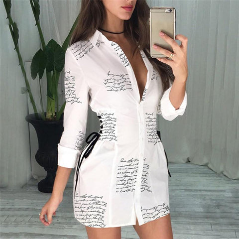 Casual Letter Printed Lace-Up Long Sleeve Shirt Dress